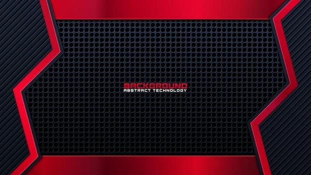 Rot-schwarzer abstrakter metallischer rahmenplandesign-tech-innovationskonzepthintergrund. vektorgrafik.