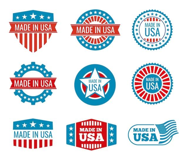 Rot und blau gemacht in den usa-emblemen eingestellt