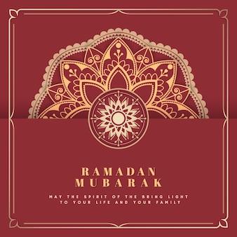 Rot und gold-eid mubarak-postkartenvektor