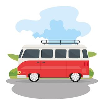 Rot-weißer wohnwagen