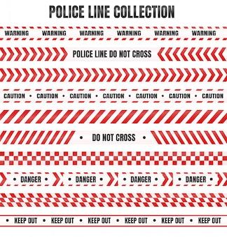 Rot-weißes polizeiband zur warnung vor gefährlichen bereichen