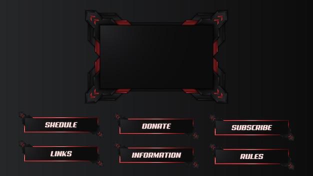 Rot zuckende streamer-panel-overlay-vorlage