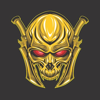 Rotäugiger goldener schädel
