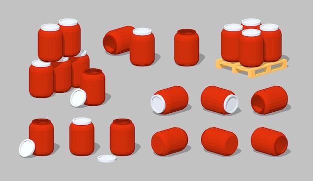 Rote 3d-lowpoly-fässer aus kunststoff