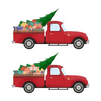 Rote abholung. vintage pickup truck mit weihnachtsbaum und geschenken im kofferraum. retro-weihnachtsauto.