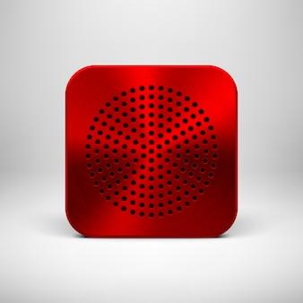 Rote abstrakte app-symbol-knopfschablone mit metallstruktur