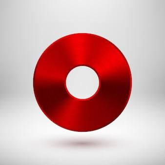 Rote abstrakte donut-ring-abzeichen-technologie-tastenvorlage mit metallstruktur chrom-silber-stahl