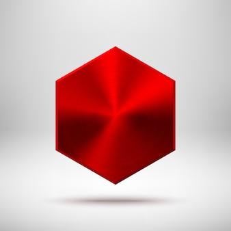 Rote abstrakte polygon-knopfschablone