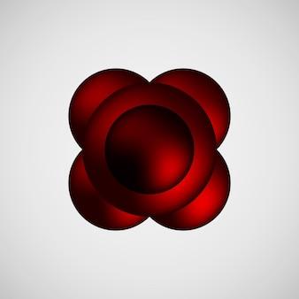 Rote abstrakte premium-blasenabzeichen-luxus-tastenvorlage mit realistischem reflex