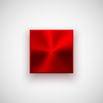 Rote abstrakte technologie quadratische abzeichen leere schaltflächenvorlage mit metallstruktur chrom