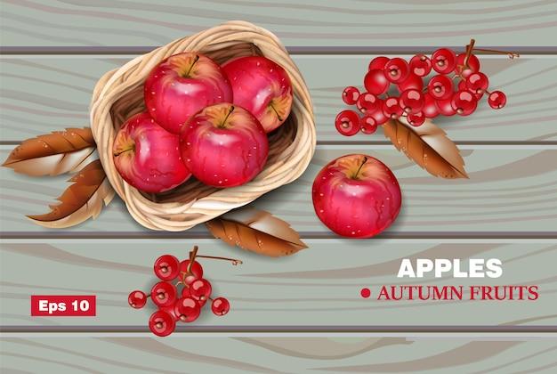 Rote äpfel auf hölzernem hintergrund