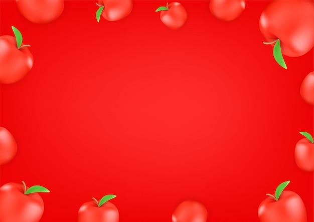 Rote äpfel tapete. hintergrund der social media-nachricht. kopieren sie platz für einen text