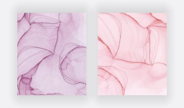 Rote alkoholtinte textur. abstraktes handgemaltes aquarell-set