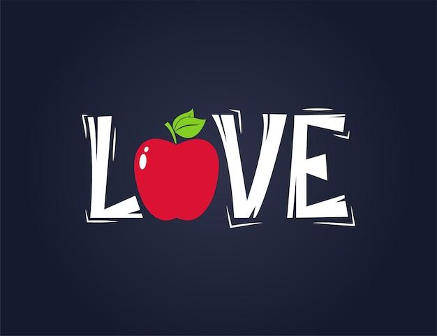 Rote apfelfrucht mit liebeszitat-textillustration