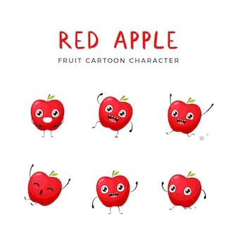 Rote apple-maskottchen-sammlung