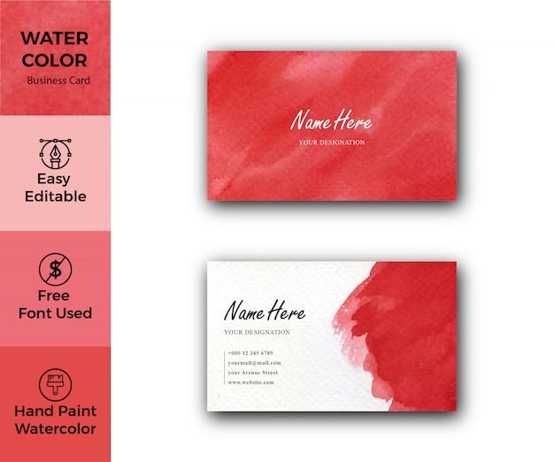Rote aquarell-firmenvisitenkartenschablone