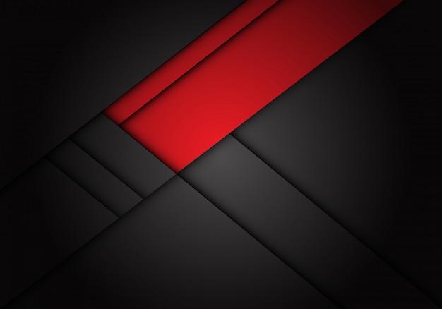 Rote aufkleberüberlappung auf dunkelgrauem metallischem hintergrund.