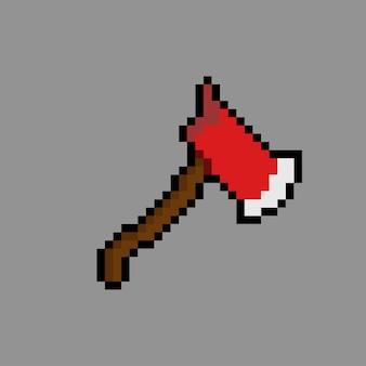 Rote axt mit pixel-art-stil