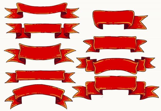 Rote bänder für templatechocolate mousse gesetzt