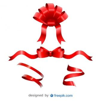 Rote bänder weihnachten spaß gesetzt
