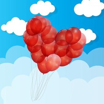 Rote ballon-herz-illustration background.eps10