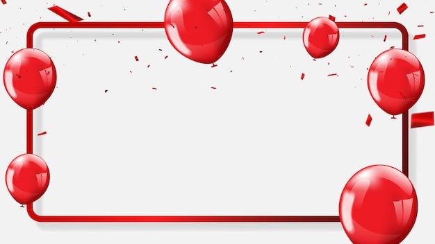 Rote ballone, konfettikonzeptdesignhintergrund