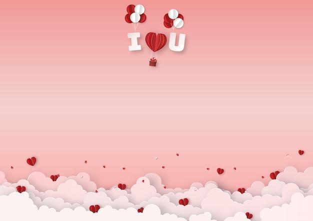 Rote ballone mit textfloss im himmel