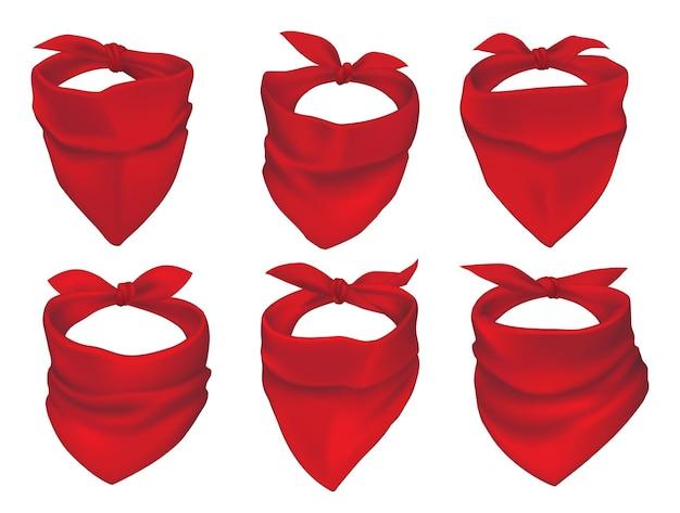 Rote bandanas, gesichtsmaske oder halstücher