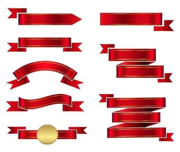 Rote bandfahnen der weinlese