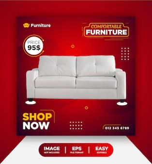 Rote bequeme möbel sofa social media post vorlage