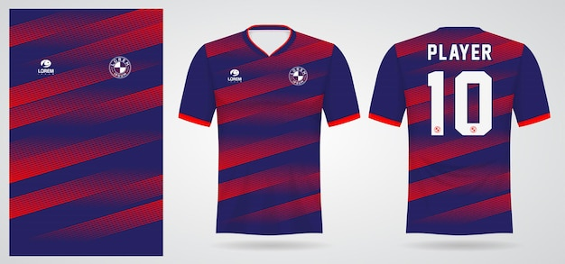 Rote blaue sporttrikotschablone für mannschaftsuniformen und fußball-t-shirt design