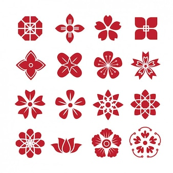 Rote blume formen icons pack