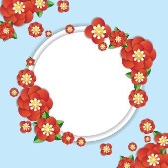 Rote blume papier kunst design illustration