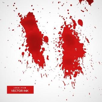 Rote blutspritzer auf weißem hintergrund