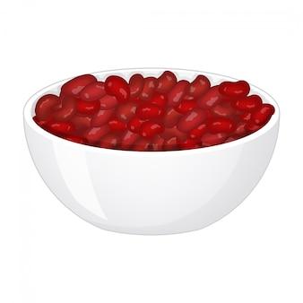 Rote bohnen im tiefen porzellanteller auf weißem hintergrund. illustration.