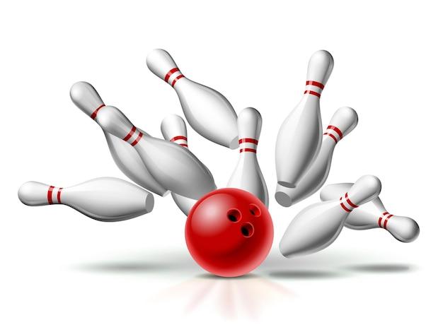 Rote bowlingkugel kracht gegen die stifte