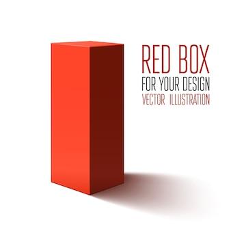 Rote box auf weißem hintergrund. illustration
