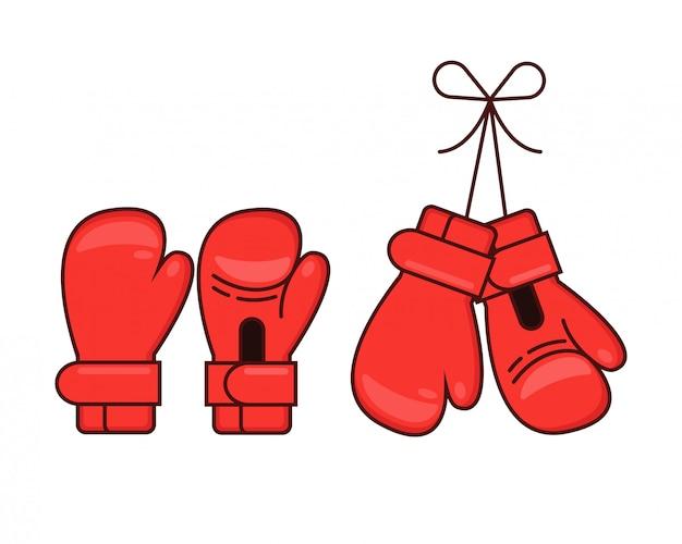 Rote boxhandschuhe der karikatur eingestellt