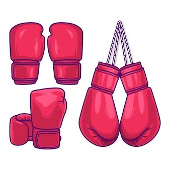 Rote boxhandschuhe stellten die vektorillustration ein, die auf weißem hintergrund lokalisiert wurde