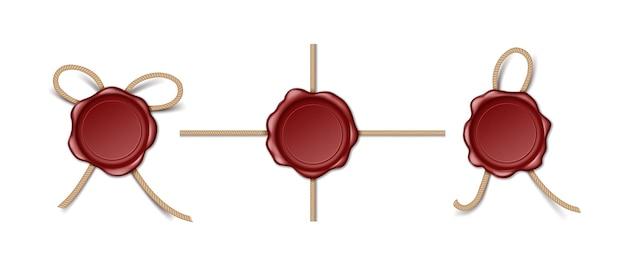 Rote briefmarken oder wachssiegel mit seil. retro-zertifikat-qualitätsstempel oder -etikett für die privatsphäre von dokumenten. 3d alte realistische wachsstempel für garantie. vektor-illustration