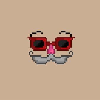 Rote brillenmaske im pixel-art-stil