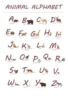 Rote buchstaben und hand gezeichnete tiere in der karikaturart
