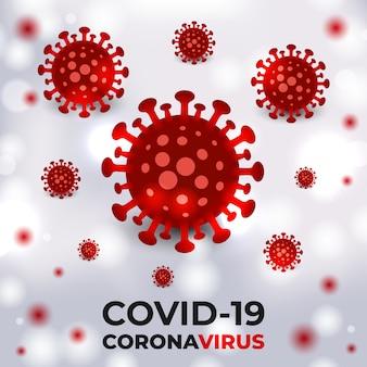 Rote coronavirus-bakterienzellen auf einem weißen medizinischen vektorhintergrund mit typografie. covid-19 rot gefärbte viruszellen.