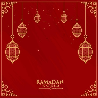 Rote dekorative flache grußkarte des ramadan kareem