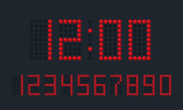 Rote digitale zahlen rot auf schwarz.