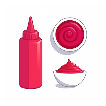 Rote dip-sauce in flasche und schüssel.