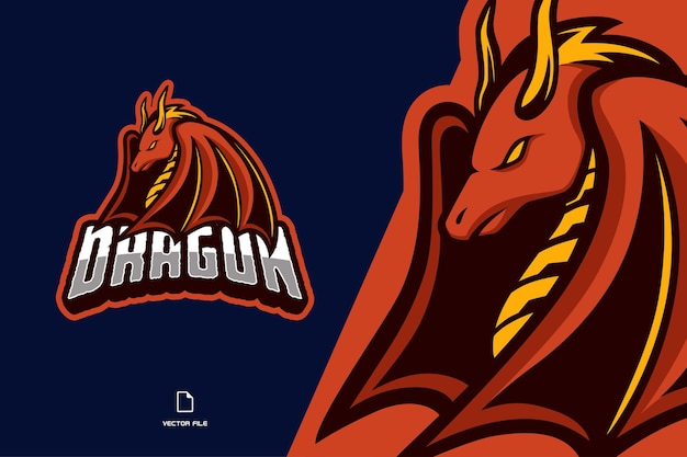 Rote drachen maskottchen logo illustration