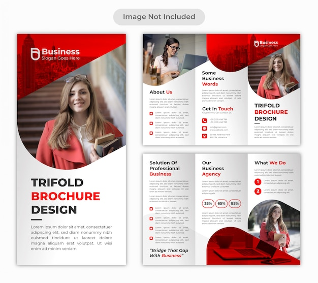 Rote dreifache faltbroschüren-entwurfsvorlage des professionellen unternehmensgeschäfts