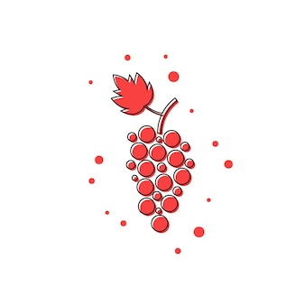 Rote dünne linie traubensymbol. konzept von weinrebe, traubensaft, weingut, restaurantgetränk, reife trauben. isoliert auf weißem hintergrund. flat style trend moderne logo design vector illustration