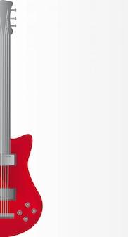 Rote e-gitarre über grauer hintergrundvektorillustration